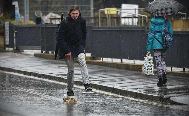 skating in the rain