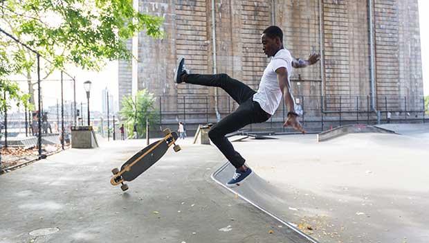 Falling from skateboard